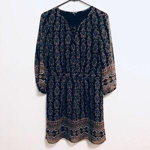 Madewell Printed Elastic Waist Peasant Dress